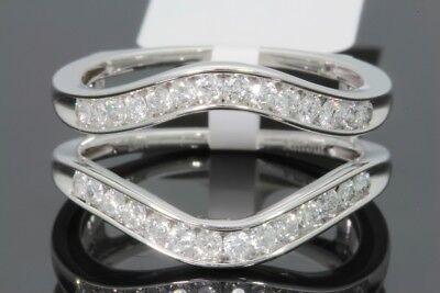 10K WHITE GOLD SOLITAIRE ENHANCER .50 CARAT DIAMOND RING GUARD WRAP WEDDING (Ring Guard Band)
