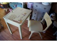 Hand painted old School Desk and Chair
