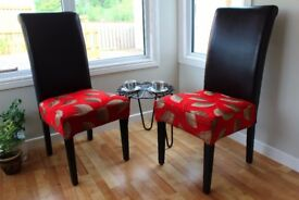 2 Bespoke hand covered dining lounge chairs high backed