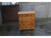 Pine chest of drawers with six drawers