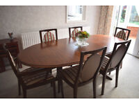 Dining table, 6 chairs and matching foot stool