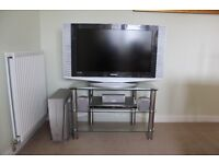 Samsung LE32A41B LCD Television, JVC XV-THS55 DVD Player & Glass TV Stand