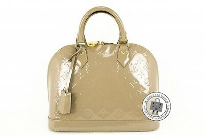 Auth Louis Vuitton New M90170 Monogram Vernis Alma PM Dune Patent Tote Bag Ghw