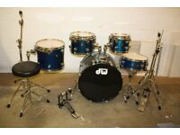 PDP Pacific (DW) Metallic Blue 5 Piece Full Drum Kit + + stands + stool + cymbal set