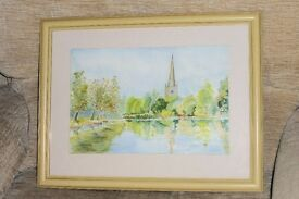Original Watercolour Painting of Stratford Upon Avon, Holy Trinity Church, 17.5 x 13.5 inches,Histon