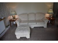 4 pce suite for sale (3 SEATER SOFA 2 CHAIRS AND FOOTSTOOL)