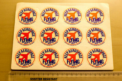 Keep Aerospace Flying stickers - sheet of 12 in mint condition - 1980s?