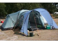 Tent - Vango Colorado 800DLX (green) + Front Porch Extension + Front Canopy + Fitted Carpet.