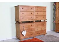 DELIVERY OPTIONS - 2 x MATCHING RUSTIC SOLID PINE CHEST OF DRAWERS WAXED FINISH