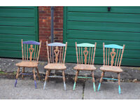 4 x Farmhouse Mid Century Shabby Chic Painted Chairs