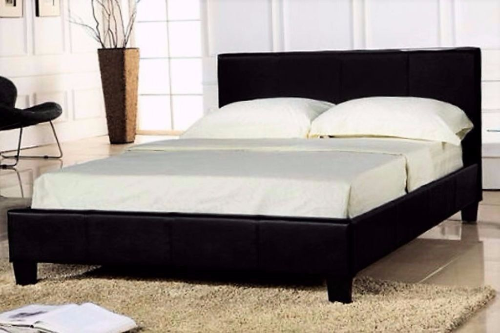 Leather Bed In Flatpack With A Range Of Mattresses