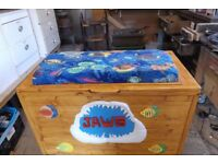 """totally unique large marine themed pine toy box withe padded seat 38"""" x 20"""" x 26 """""""