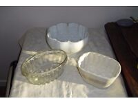THREE 19th CENTURY JELLY BOWLS - TWO PORCELAIN & ONE CLEAR GLASS OF LATER DATE.