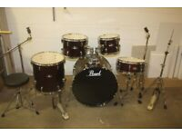 Pearl Roadshow Series Red Sparkle Full 5 Piece Drum Kit (22in Bass) + All Stands + Stool + Cymbals