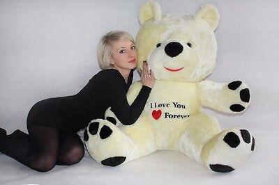 Riesen Teddybär Plüschtier Stofftier mit Stickerei weiß-rot 120cm groß