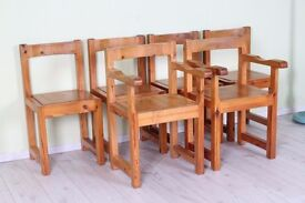 6 x FARMHOUSE CHUNKY CHAIRS INCL 2 CARVERS SOLID PINE VERY STURDY - CAN COURIER