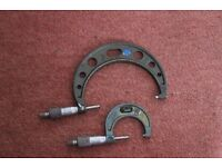 """2 linear micrometers One Mitutoya 1"""" - 2"""" 0.001 Other unknown - see pics"""
