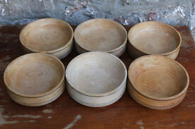 6 Vintage Handturned Stackable Wooden Bowls Made from Beech Hand Made Serving Bowls Storage