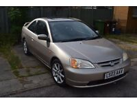 Honda Civic Coupe Gold Low Millage Great Condition Automatic Petrol 1.7l Engine SunRoof