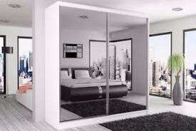 ❋❋ GERMAN QUALITY ❋❋ NEW 2 DOOR BERLIN SLIDING WARDROBE FULLY MIRROR WITH SHELVES AND HANGING RAILS