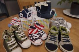BABY SHOES BOOTIES BUNDLE 8 PAIRS ages 0-18 months ALL Excellent Condition