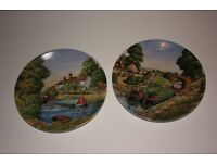"""Royal Worcester Decorative Wall Plates.Roger Kent """"Romance of the Waterways"""" Series."""