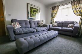 Contemporary DFS Beckett 4 And 2 Seater Sofa, Chair and Footstool in Grey Arden