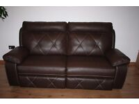 Chocolate brown endurance leather 3 seats electric / power recliner sofa with FREE DELIVERY only£190