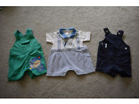 Baby boys clothes bundle, 3 short dungarees, Mothercare, M&S and Pulcino, size 0-3 months