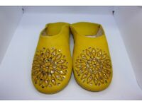 Ladies Babouche Slippers, yellow with glitter