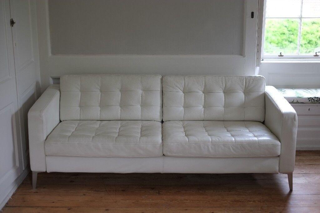 Ikea Landskrona White Leather Sofa Spacious 3 Or 4 Seater