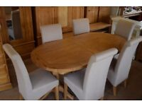 Montague Oak Twin Pedestal 190-240cm Ext. Table and 6 Chairs
