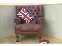 Stunning Brown Leather Tetrad Blake Chesterfield Chair.