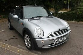 FROM £25 PER WEEK 2007 MINI CONVERTIBLE 1.6 PETROL MANUAL SILVER LOW MILES SULL SERVICE HISTORY