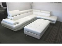 White leather large corner sofa with XL footstool