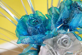 artificial Blue and silver flower with vase
