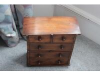 2 over 3 mahogany miniature chest of drawers. 13 by 11 by 5.5""