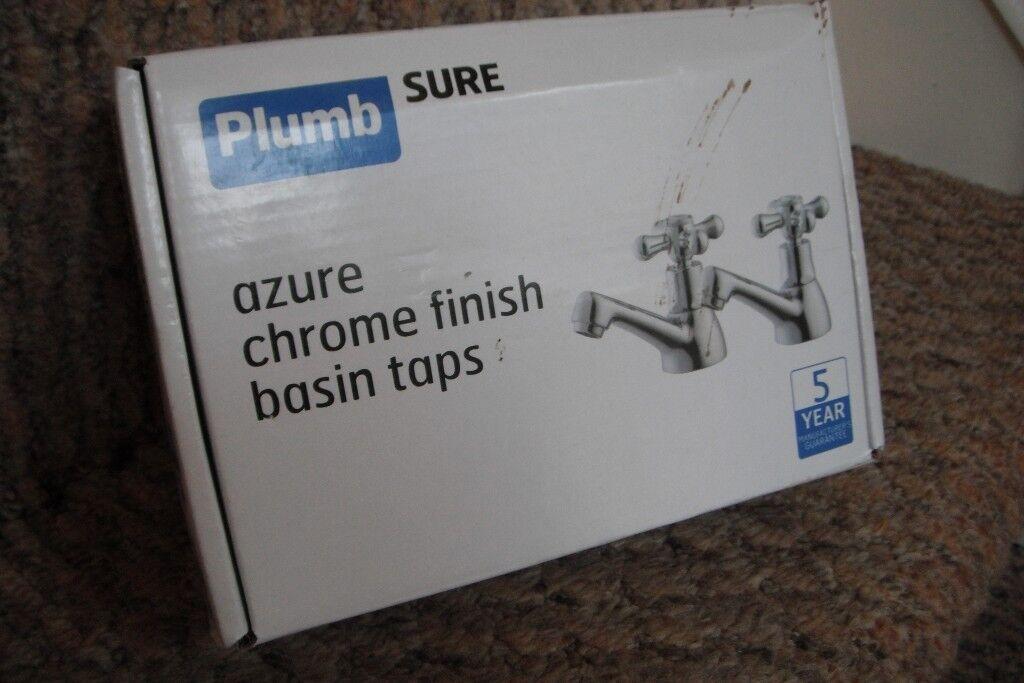 'Plumb Sure' Azure Chrome Finish Basin Taps.