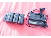 SONY AC-V700 Charger with 3 Battery SONY NP-F970