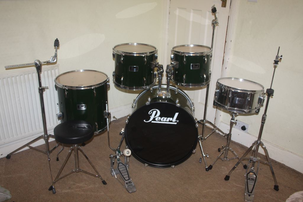 Pearl forum alpine green 5 piece drum kit complete with for 13 inch floor tom