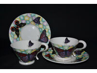 Porcelain set of 2 cups and 2 saucers, tea cup, gift box, coffee set, butterfies