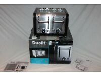 Dualit Architect 4-slot toaster n brushed stainless steel with black trim. As new.