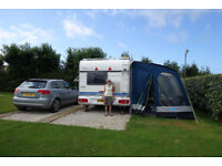 Kampa 390 Rally caravan awning. Really quick to put up and light and airy. Fully waterproof