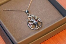 Silver Gem Tree Necklace