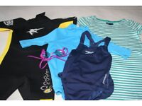 Bundle for child aged 8-9 years including wet suit for beach or water sports, rash vest and costume
