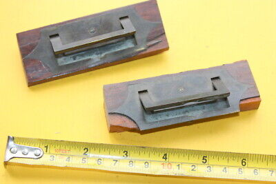 2 CONCEALED FOLDING BRASS CAMPAIGN HANDLES WRITING SLOPE BOX ANTIQUE VINTAGE