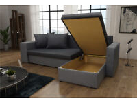 BRAND NEW CORNER SOFA BED WITH 2 FOOTSTOOLS AND 2 STORAGE