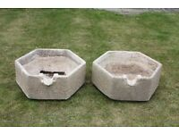 Pair of French Hexagonal Planters - concrete / very heavy