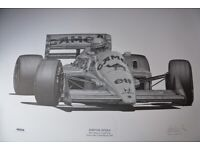 ALAN STAMMERS Signed Limited Edition Racing Print - AYRTON SENNA - Lotus 1987
