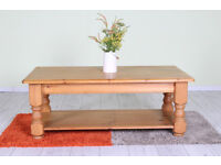 SOLID PINE CHUNKY COFFEE TABLE WAXED LIGHT IN COLOUR - CAN COURIER